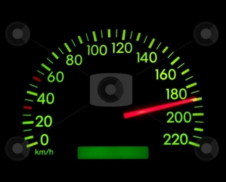 Speedometer stock photo, Speedometer showing 190, glowing green in the dark by P?