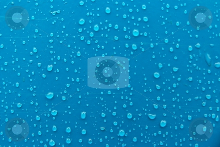 Droplets stock photo, Many small droplets on blue surface by P?