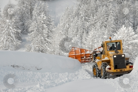 Winter road stock photo, Removing snow from a road in winter by P?