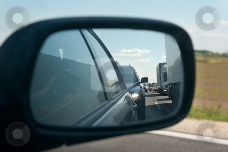 Traffic stock photo, Traffic jam viewed in the sideview mirror by P?