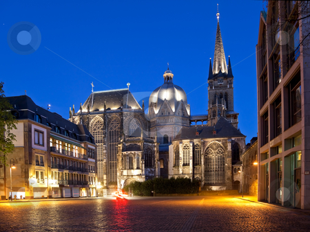 Aachen Cathedral stock photo, The cathedral in Aachen (Germany) at the blue hour by Interlight