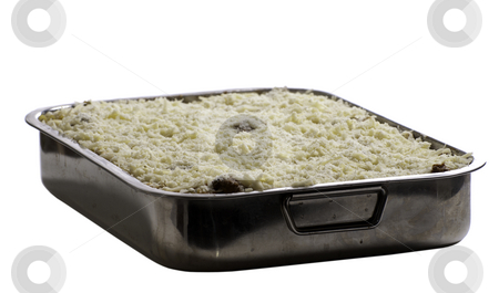 Home-made Lasagna stock photo, Homemade lasagna in a metal dish, isolated against a white background by Richard Nelson