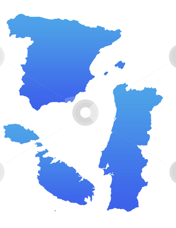 Blue Spain Portugal and Malta maps stock photo, Mediterranean Spain, Portugal and Malta maps in gradient blue, isolated on white background. by Martin Crowdy