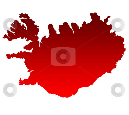 Map of Iceland stock photo, Silhouetted gradient red map of iceland, isolated on white background. by Martin Crowdy