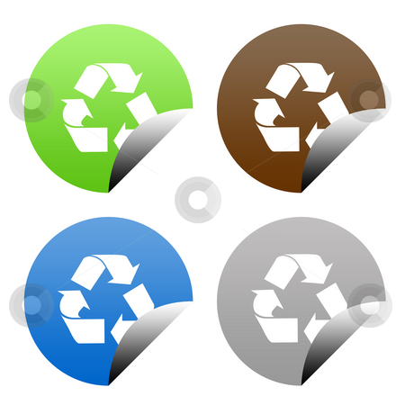 Eco recycling buttons stock photo, Set of buttons in eco recycling colors, isolated on white background with copy space. by Martin Crowdy