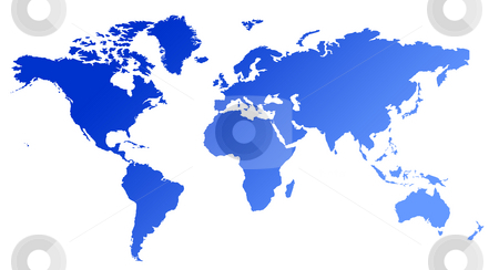 Blue gradient map of World stock photo, Blue gradient map of World or Planet Earth, isolated on white background. by Martin Crowdy