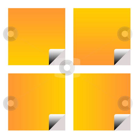 Blank orange business stickers stock photo, Blank orange business stickers or labels isolated on white background. by Martin Crowdy