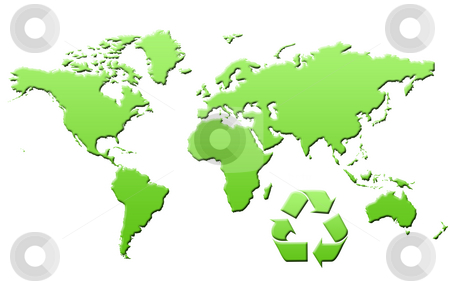 Green map of World stock photo, Green eco map of world or planet Earth, isolated on white background. by Martin Crowdy
