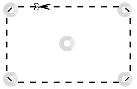 Blank coupon or voucher stock photo, Silhouetted black voucher or coupon isolated on white background with copy space. by Martin Crowdy