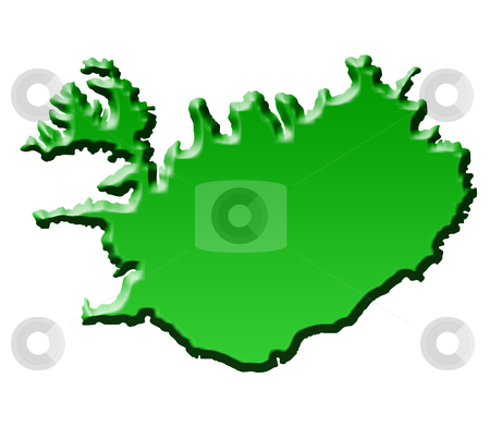 Map of Iceland stock photo, Silhouetted green map of iceland, isolated on white background. by Martin Crowdy