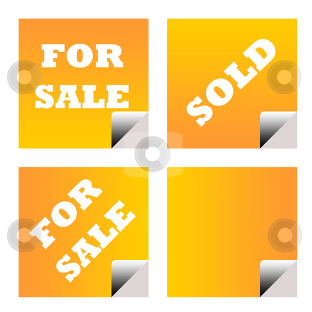 For sale sold business labels stock photo, For sale and sold orange business stickers or labels isolated on white background. by Martin Crowdy