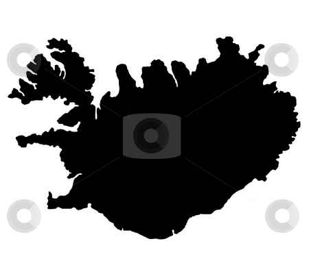Map of Iceland stock photo, Silhouetted black map of iceland, isolated on white background. by Martin Crowdy