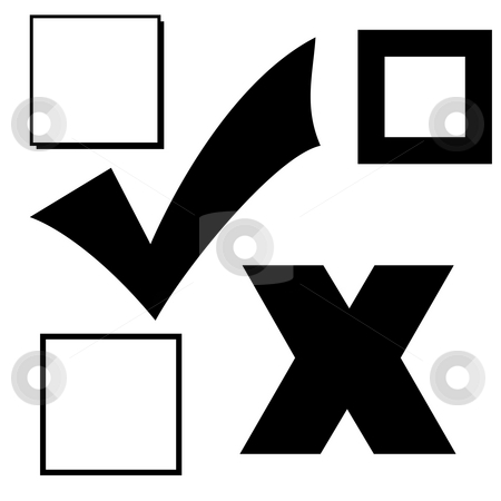 Voting icons stock photo, Set of election of voting icon silhouettes isolated on white background. by Martin Crowdy