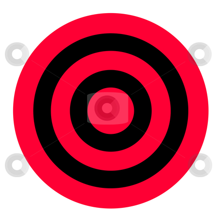 Red and black target stock photo, Red and black target isolated on white background with copy space. by Martin Crowdy