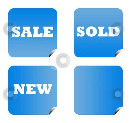 Blue gradient buttons stock photo, Blue gradient sale buttons with copy space isolated on white background. by Martin Crowdy
