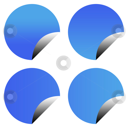 Blank blue sticker buttons stock photo, Blank blue gradient sticker buttons isolated on white background with copy space. by Martin Crowdy