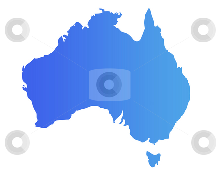 Blue Australia map stock photo, Australia map in gradient blue, isolated on white background. by Martin Crowdy