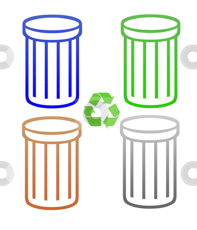 Set of recycling trash cans or rubbish bins stock photo, Set of recycling trash cans or rubbish bin silhouetted, isolated on white background. by Martin Crowdy