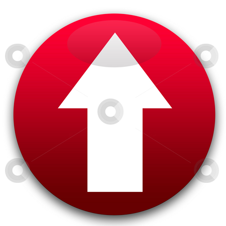 Red arrow button stock photo, Red directional arrow button isolated on white background. by Martin Crowdy