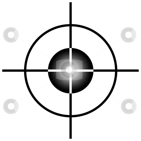 Sniper target scope stock photo, Sniper target scope or sight, isolated on white background. by Martin Crowdy