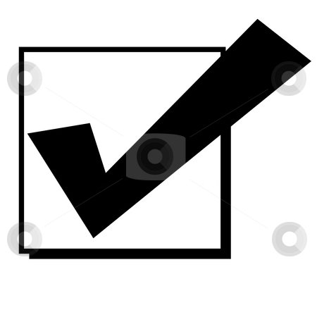 Check mark in box stock photo, Black silhouetted tick or check mark in box, isolated on white background. by Martin Crowdy