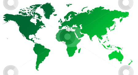Green gradient map of World stock photo, Green gradient map of World or Planet Earth, isolated on white background. by Martin Crowdy
