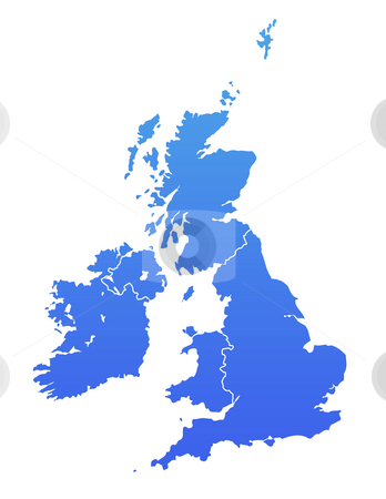 Blue United Kingdom map stock photo, United Kingdom map in gradient blue, isolated on white background. by Martin Crowdy