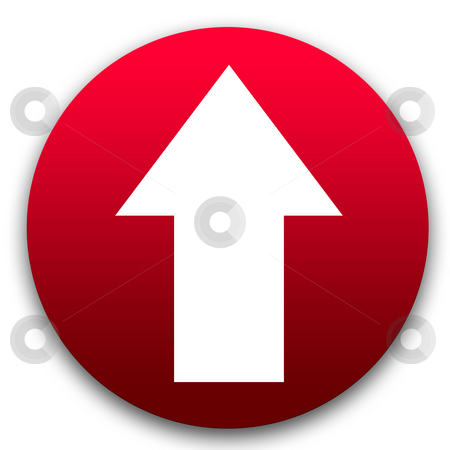 Directional arrow button stock photo, Red directional arrow button isolated on white background. by Martin Crowdy