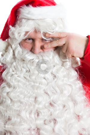 Funny Santa Claus stock photo, Funny smiling Santa Claus holding two fingers on one eye by Ruta Balciunaite