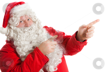 Funny Santa Claus stock photo, Funny Santa Claus showing in right direction with two fingers by Ruta Balciunaite