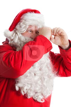 Funny Santa Claus stock photo, Funny Santa Claus looking through hand's binocular by Ruta Balciunaite
