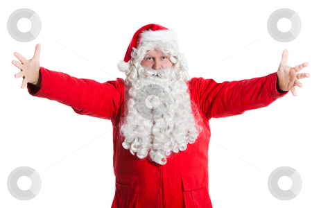 Santa Claus wellcome stock photo, Happy Santa Claus welcomes with spread arms by Ruta Balciunaite