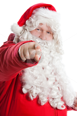 Funny Santa Claus stock photo, Funny smiling Santa Claus showing with finger to the camera by Ruta Balciunaite