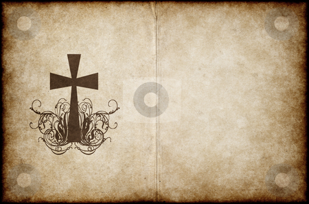 Cross on old parchment stock vector clipart, Cross on old worn and grungy parchment paper by Phil Morley
