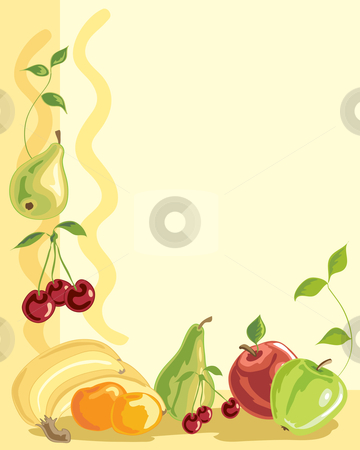 Fruit stock vector clipart, A hand drawn illustration of an arrangement of fruit on a pale yellow background by Mike Smith
