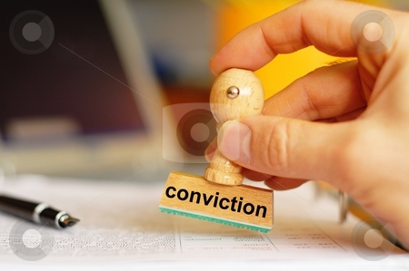 Conviction stock photo, Conviction on stamp in office showing law or crime concept with copyspace by Gunnar Pippel