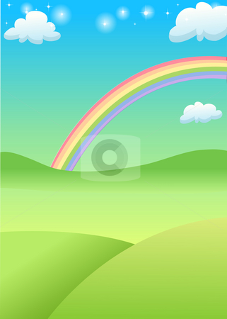 Rainbow stock photo, Green grass field and mountain with rainbow in the background by Su Li