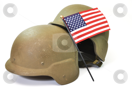 American Military stock photo, Military helmets and American flag isolated on white background. by Danny Hooks