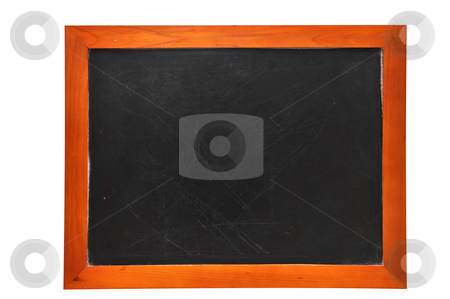 Blank Chalkboard (with clipping path) stock photo, Blank chalkboard isolated on white background with clipping path. by Danny Hooks