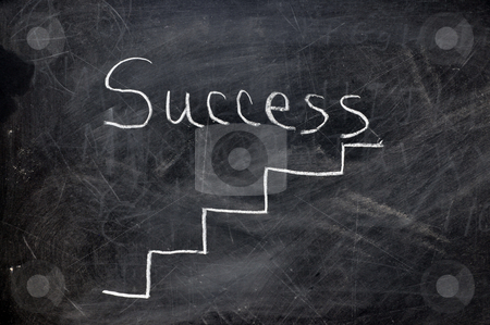 Ladder to Success stock photo, Ladder to success on black chalkboard with chalk dust. by Danny Hooks