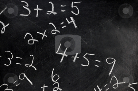 Equations on Chalkboard stock photo, Equations on black chalkboard with copy space. by Danny Hooks