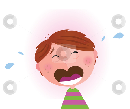 Small crying boy  stock vector clipart, Vector Illustration of lonely small crying boy. Facial expression detail. Angry, sad and frustrated child that needs a big hug. by BEEANDGLOW
