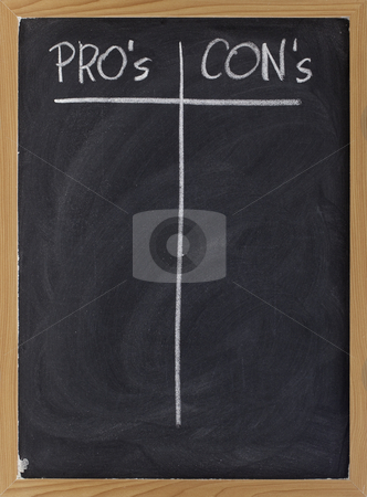 Blank list of pro and contra arguments stock photo, Pros and cons, blank list of pro and con arguments - white chalk handwriting on a blackboard by Marek Uliasz