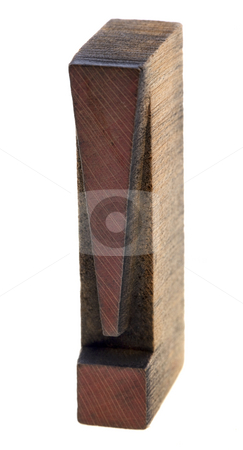 Exclamation mark in vintage wooden letterpress type stock photo, Exclamation mark in vintage wood letterpress type, stained by red ink, isolated on whhite by Marek Uliasz
