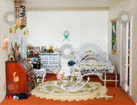 Dolls house with girl bedroom stock photo, Vintage doll house - girl's pretty bedroom. by Andreea Chiper