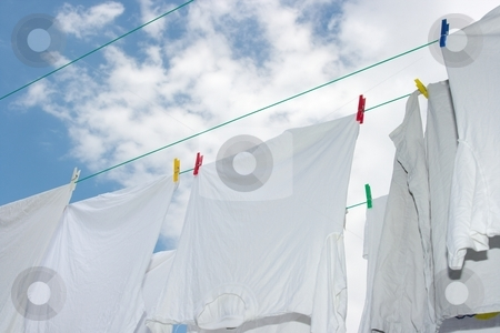 Drying stock photo, White clothes drying on the rope by P?