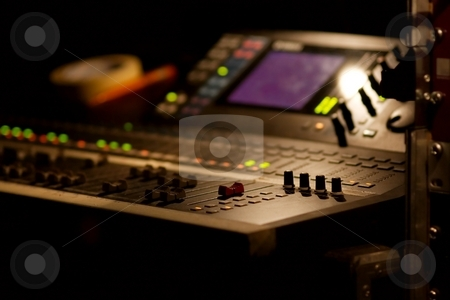 Mixer stock photo, Soundboard mixer at a concert, shallow focus by P?