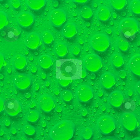 Droplets stock photo, Many water droplets on green surface by P?