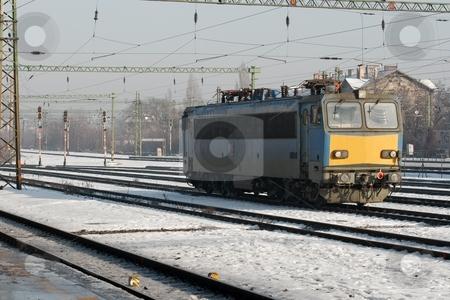 Railway stock photo, Snowy railway tracks in winter by P?