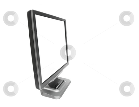 Monitor stock photo, Blank LCD monitor isolated on white (easy to add text or image) by P?